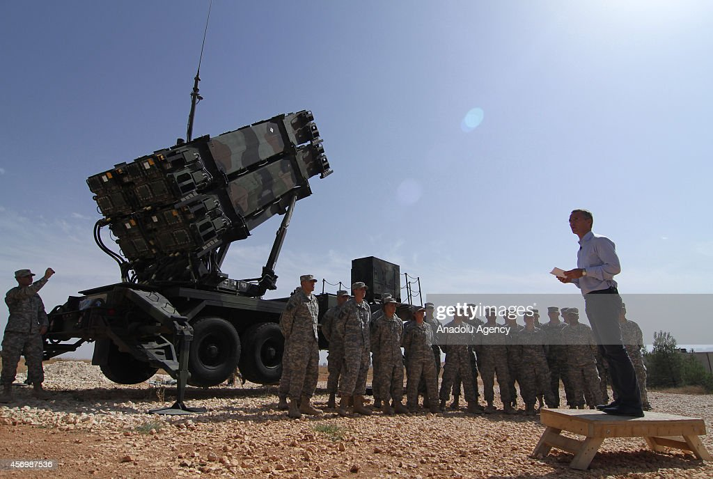 Secretary General Jens Stoltenberg visits US Patriot Battery Troops at the 5th Battalion in Turkeys Gaziantep province on October 10 2014