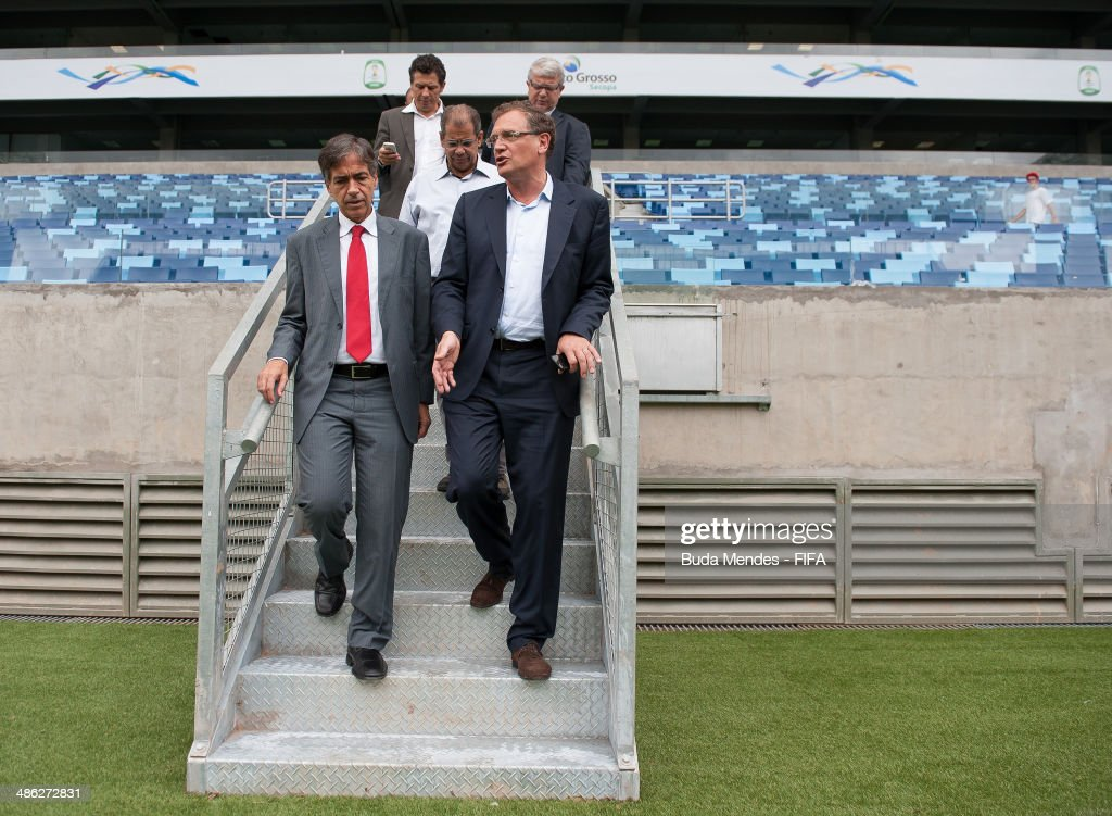 Secretary General Jerome Valcke (R), and Brazilian Deputy Sports Minister Luis Fernandes take a tour of the Arena Pantanal during the 2014 FIFA World Cup Host City Tour on April 23, 2014 in Cuiaba, Brazil