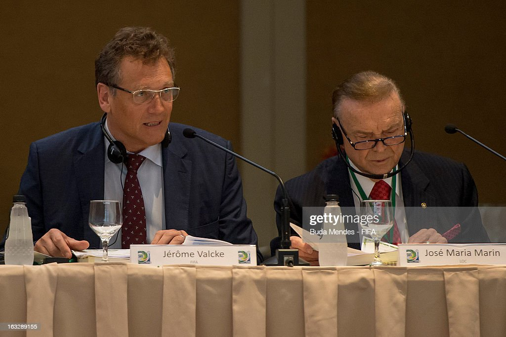 Secretary General Jerome Valcke and CBF President Jose Maria Marin during the meeting for 2014 FIFA World Cup Host City Tour on March 7, 2013 in Rio de Janeiro, Brazil.