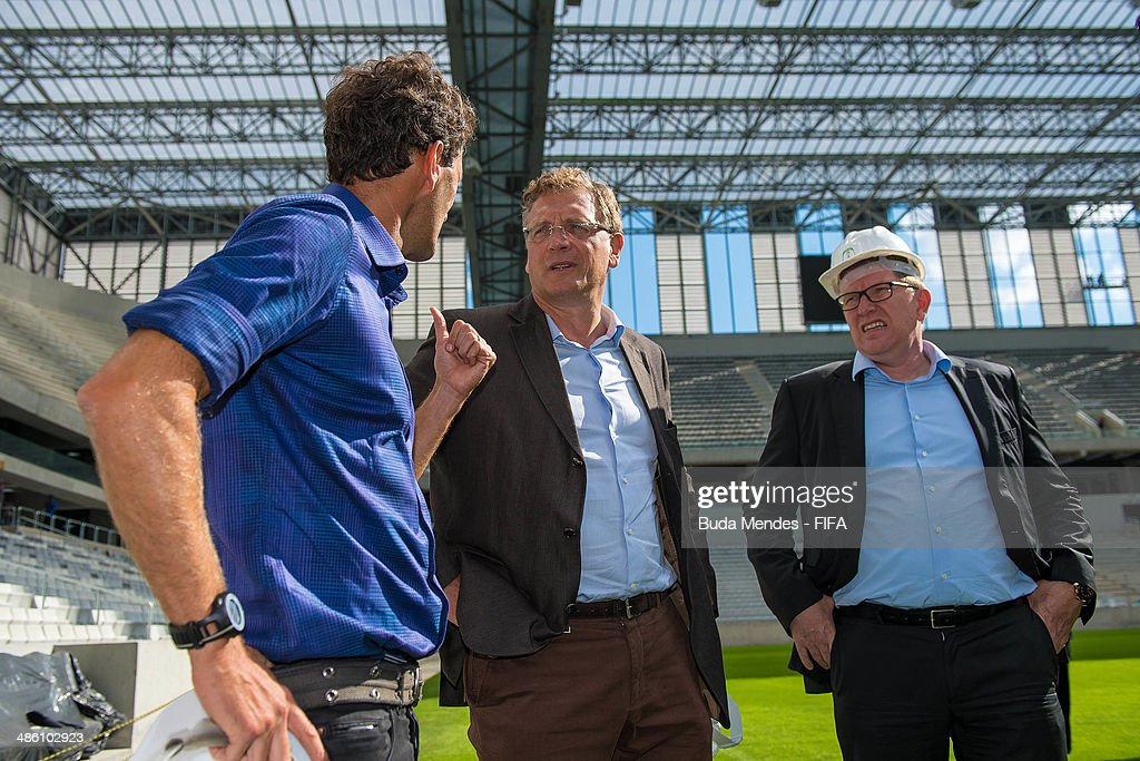 Secretary General Jerome Valcke (C) and FIFA Director Marketing Thierry Weil (R) take a tour of the Arena da Baixada during the 2014 FIFA World Cup Host City Tour on April 22, 2014 in Curitiba, Brazil