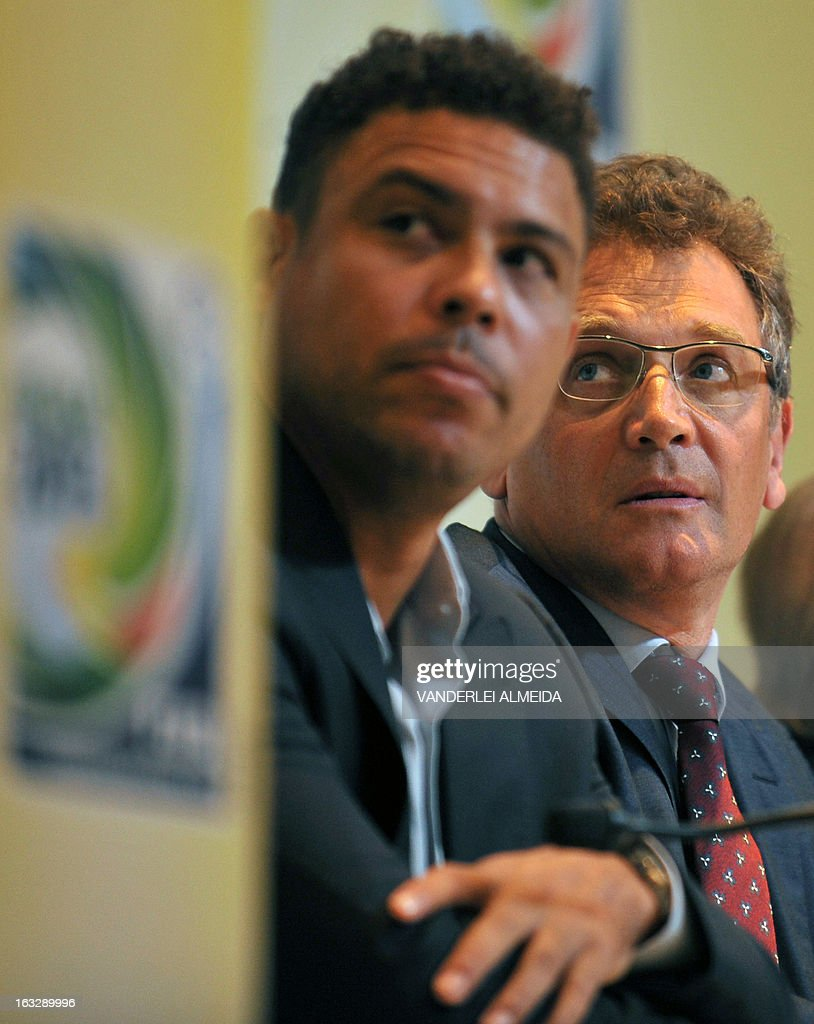 FIFA secretary general Jerome Valcke (R) and former footballer and member of the local Brazil 2014 FIFA World Cup Organizing Committee Ronaldo Nazario, attend a press conference on the Confederations Cup and WC2014, in Rio de Janeiro, Brazil, on March 7, 2013.