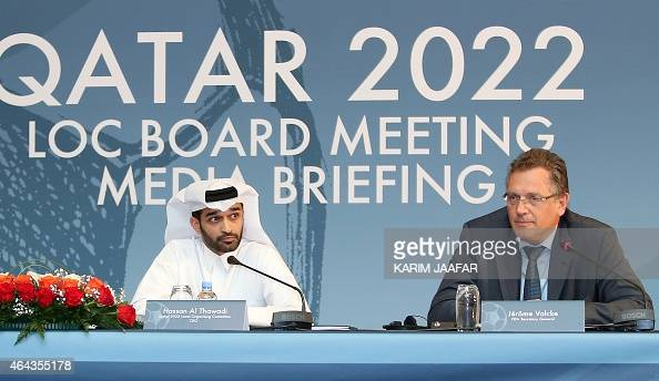 Secretary General Jerome Valcke and Hassan alThawadi head of the Qatar 2022 World Cup organising committee give a press conference to defend the...