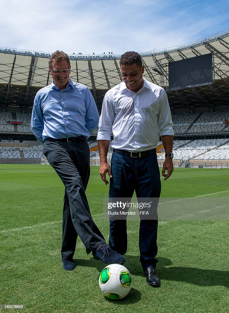 Secretary General Jerome Valcke and LOC member Ronaldo Nazario visit Mineirao Stadium during the 2014 FIFA World Cup Host City Tour on March 6, 2013 in Belo Horizonte, Brazil.