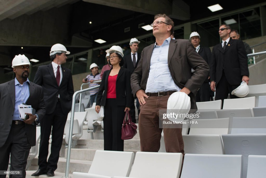 Secretary General Jerome Valcke (R) and Managing Director of the FIFA World Cup Brazil Office, Ron DelMont (L) take a tour of the Arena da Baixada during the 2014 FIFA World Cup Host City Tour on April 22, 2014 in Curitiba, Brazil