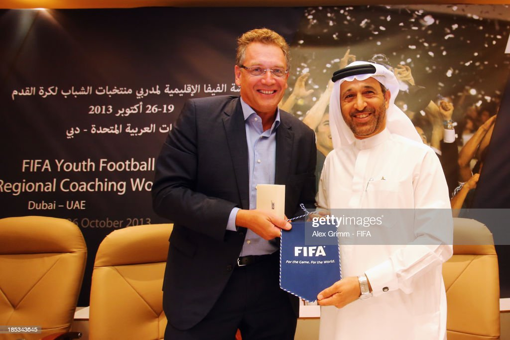 Secretary General <a gi-track='captionPersonalityLinkClicked' href=/galleries/search?phrase=Jerome+Valcke&family=editorial&specificpeople=4375385 ng-click='$event.stopPropagation()'>Jerome Valcke</a> and UAEFA President Yousuf al Serkal open the FIFA Football Regional Coaching Workshop at Emirates Concorde Hotel on October 19, 2013 in Dubai, United Arab Emirates.