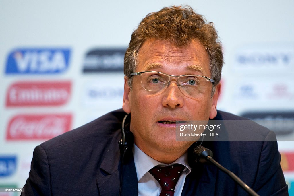 Secretary General <a gi-track='captionPersonalityLinkClicked' href=/galleries/search?phrase=Jerome+Valcke&family=editorial&specificpeople=4375385 ng-click='$event.stopPropagation()'>Jerome Valcke</a> attends a press conference during FIFA World Cup LOC Board Meeting on March 7, 2013 in Rio de Janeiro, Brazil.