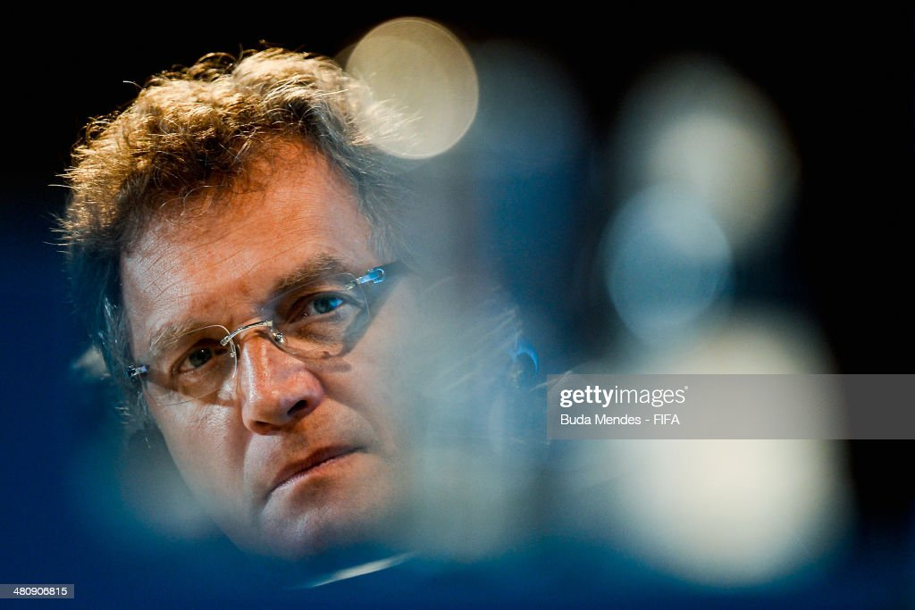 Secretary General <a gi-track='captionPersonalityLinkClicked' href=/galleries/search?phrase=Jerome+Valcke&family=editorial&specificpeople=4375385 ng-click='$event.stopPropagation()'>Jerome Valcke</a> attends a press conference during the 2014 FIFA World Cup Brazil Local Organizing Committee (LOC) Board Meeting at Maracana Stadium on March 27, 2014 in Rio de Janeiro, Brazil.