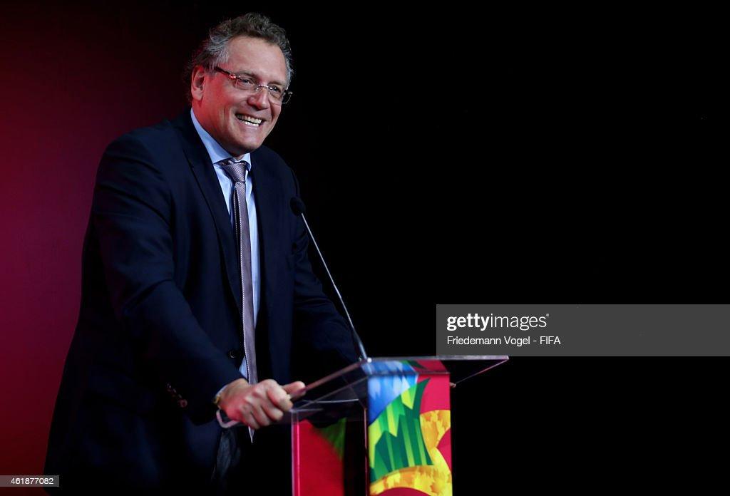 Secretary General, <a gi-track='captionPersonalityLinkClicked' href=/galleries/search?phrase=Jerome+Valcke&family=editorial&specificpeople=4375385 ng-click='$event.stopPropagation()'>Jerome Valcke</a> attends the media briefing for forthcoming FIFA Womens World Cup 2015 in Canada at Federacao Paulista de Futebol on January 21, 2015 in Sao Paulo, Brazil.