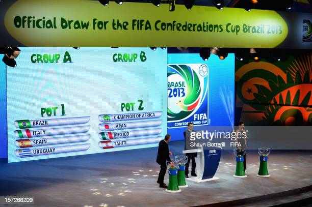 Secretary General Jerome Valcke draws out Brazil during the Official Draw for the FIFA Confederations Cup Brazil 2013 at the Anhembi Convention...