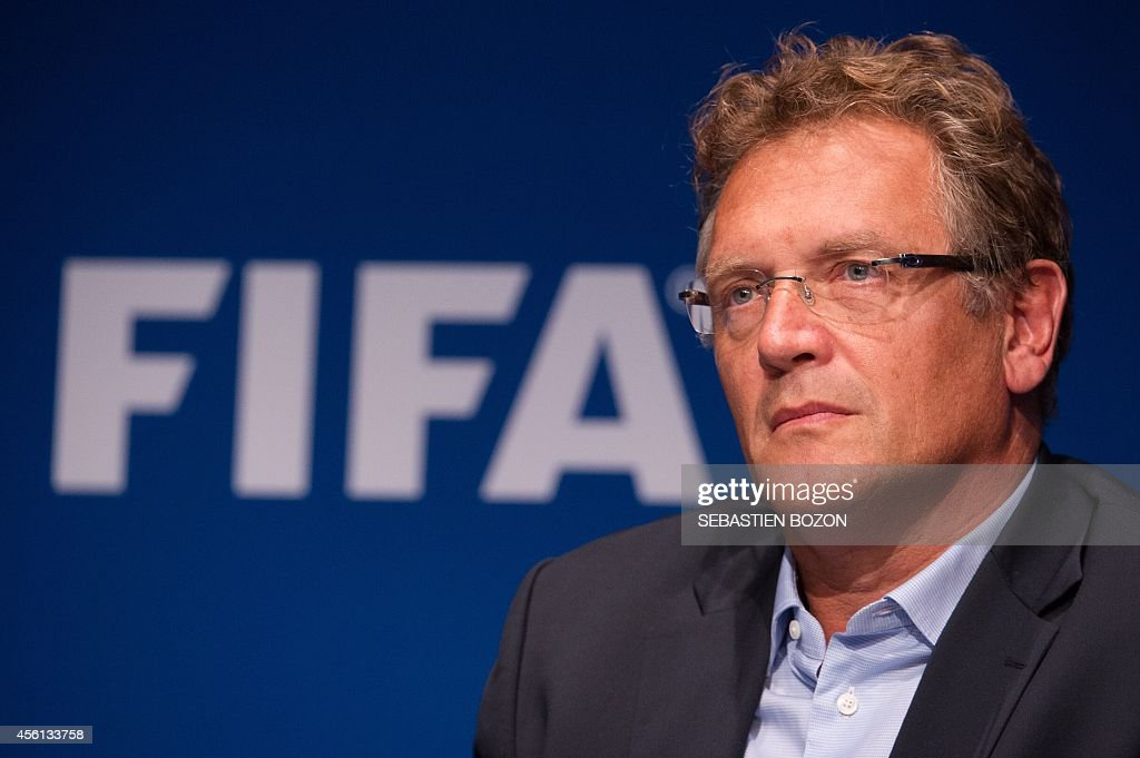 Secretary General Jerome Valcke gives a press conference at the end of a meeting of the FIFA Executive Comitee on September 26, 2014 at the organistation's headquarters in Zurich, after formalizing his candidacy for a 5th mandate at the head of the FIFA.