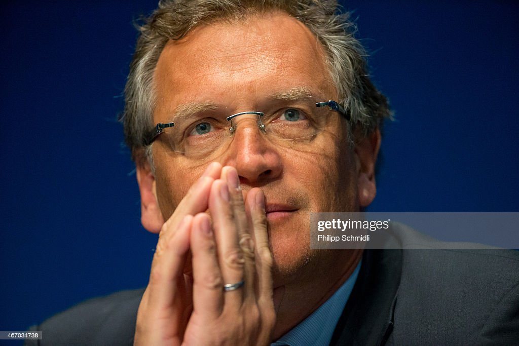Secretary General <a gi-track='captionPersonalityLinkClicked' href=/galleries/search?phrase=Jerome+Valcke&family=editorial&specificpeople=4375385 ng-click='$event.stopPropagation()'>Jerome Valcke</a> looks on during a press conference at the end of the FIFA Executive Comitee meeting at the FIFA headquarters on March 20, 2015 in Zurich, Switzerland.