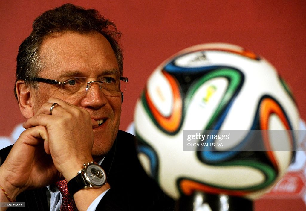 Secretary General <a gi-track='captionPersonalityLinkClicked' href=/galleries/search?phrase=Jerome+Valcke&family=editorial&specificpeople=4375385 ng-click='$event.stopPropagation()'>Jerome Valcke</a> smiles as he attends on February 16, 2015 a press briefing following the 2018 FIFA World Cup Russia Local Organizing Committee Management Board meeting with FIFA participation in Saint Petersburg.