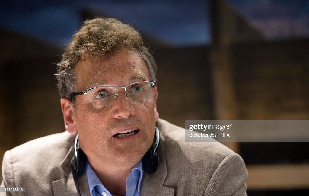 Secretary General Jerome Valcke speaks during a press conference at Mineirao Stadium during the 2014 FIFA World Cup Host City Tour on March 6, 2013 in Belo Horizonte, Brazil.