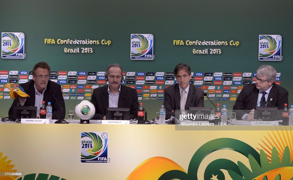 FIFA secretary general Jerome Valcke, Sports Minister of Brazil Aldo Rebelo, Executive Sports Secretary Luis Fernandes and CEO of the LOC Ricardo Trade during a FIFA Media Briefing & 2014 Host City Event as part of the FIFA Confederations Cup Brazil 2013 at Maracana Stadium on June 24, 2013 in Rio de Janeiro, Brazil.