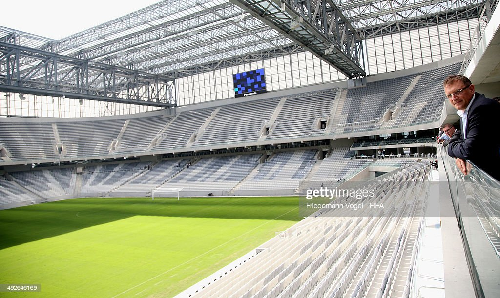 Secretary General, Jerome Valcke takes a tour of the Arena da Baixada during the 2014 FIFA World Cup Host City Tour on May 21, 2014 in Curitiba, Brazil.