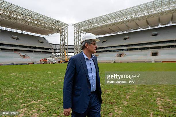 Secretary General Jerome Valcke takes a tour of the Arena Pantanal during the 2014 FIFA World Cup Host City Tour on January 20 2014 in Cuiaba Brazil