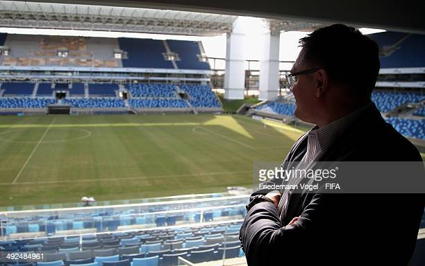 Secretary General Jerome Valcke takes a tour of the Arena Pantanal during the 2014 FIFA World Cup Host City Tour on May 20 2014 in Cuiaba Brazil