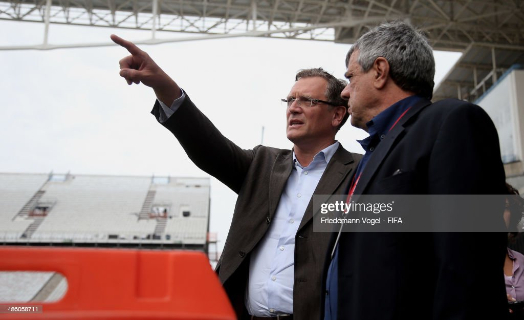 Secretary General, <a gi-track='captionPersonalityLinkClicked' href=/galleries/search?phrase=Jerome+Valcke&family=editorial&specificpeople=4375385 ng-click='$event.stopPropagation()'>Jerome Valcke</a> takes a tour of the Arena Sao Paulo during the 2014 FIFA World Cup Host City Tour on April 22, 2014 in Sao Paulo, Brazil.
