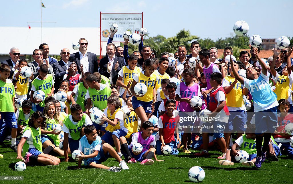 Secretary General, Jerome Valcke visits the Kick-off 2014 FIFA World Cup Football Legacy Project at CEJU on July 6, 2014 in Belem, Brazil.