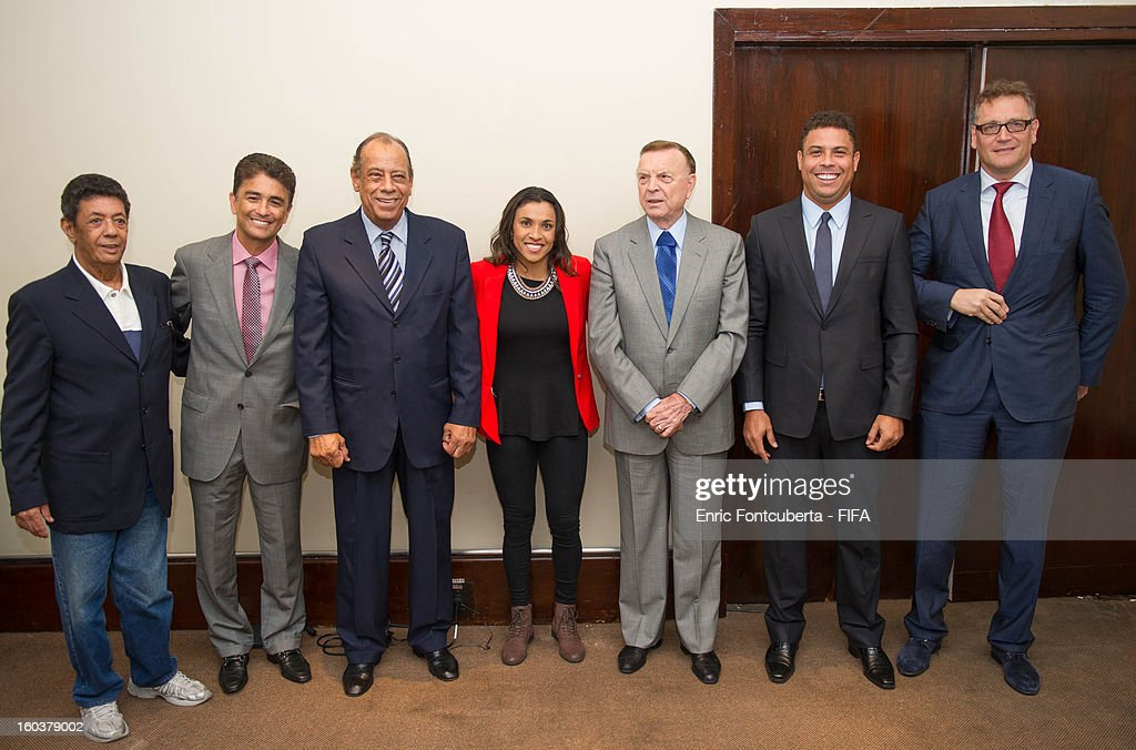 Secretary General Jerome Valckle, CBF President Jose Maria Marin pose with FIFA Ambassadors and former World Cup Champions for Brazil Ronaldo Luis Nazario, Jose Roberto Gama de Oliveira Bebeto, Amarildo Tavares da Silveira, <a gi-track='captionPersonalityLinkClicked' href=/galleries/search?phrase=Carlos+Alberto+Torres&family=editorial&specificpeople=724460 ng-click='$event.stopPropagation()'>Carlos Alberto Torres</a> and <a gi-track='captionPersonalityLinkClicked' href=/galleries/search?phrase=Marta+-+Soccer+Player&family=editorial&specificpeople=3038337 ng-click='$event.stopPropagation()'>Marta</a> Vieira da Silva attend the LOC Management Board Meeting during 2014 FIFA World Cup Host City Tour on January 30, 2013 in Rio de Janeiro, Brazil.