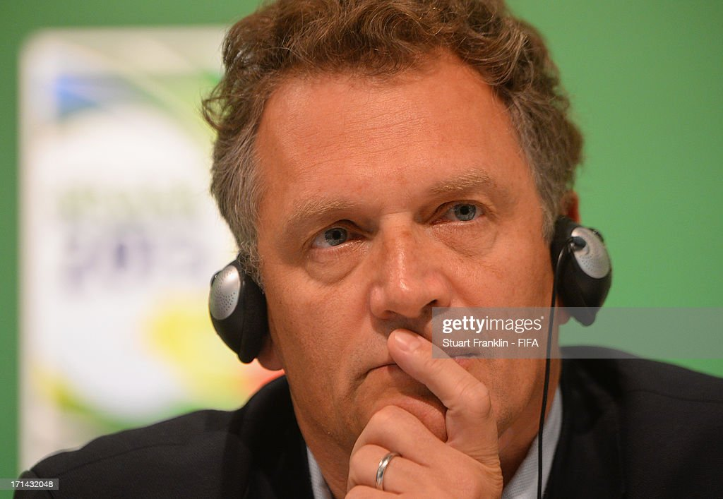 Secretary General, Jerome Valke ponders during the FIFA media briefing and 2014 host city event at Maracana on June 24, 2013 in Rio de Janeiro, Brazil.