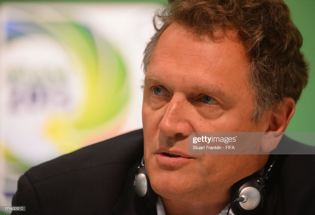 Secretary General, Jerome Valke talks with the media during the FIFA media briefing and 2014 host city event at Maracana on June 24, 2013 in Rio de Janeiro, Brazil.