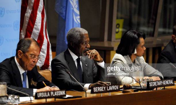 UN Secretary General Kofi Annan addresses the media in regards to proposals for the IsraeliPalestinian Peace Process HE Mr Sergey Lavrov Minister for...