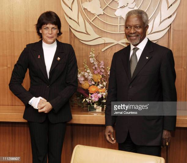 UN Secretary General Kofi Annan meets with HSH Princess Stephanie of Monaco at the United Nations on June 2 2006 in New York City