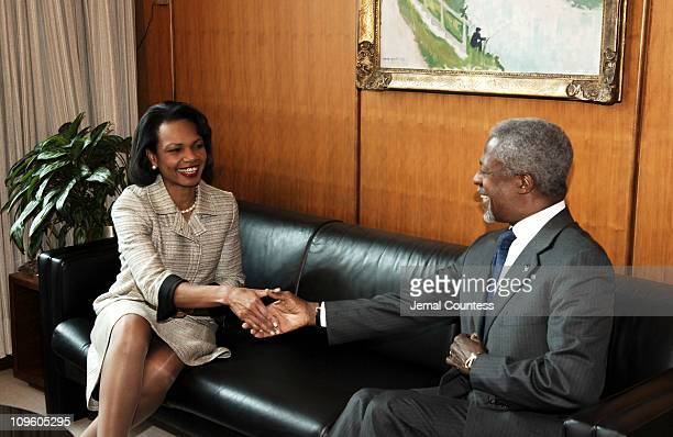 UN Secretary General Kofi Annan meets with US Secretary of State Condoleezza Rice on May 9 2005 at the United Nations in New York City
