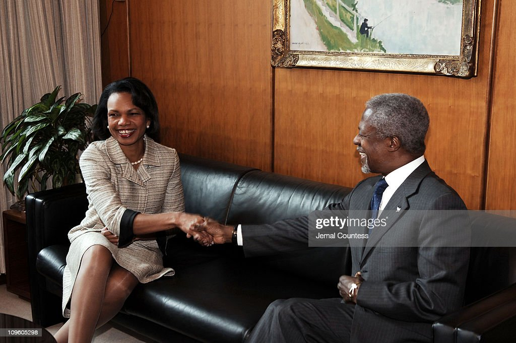 U.N. Secretary General <a gi-track='captionPersonalityLinkClicked' href=/galleries/search?phrase=Kofi+Annan&family=editorial&specificpeople=169832 ng-click='$event.stopPropagation()'>Kofi Annan</a> meets with U.S. Secretary of State, <a gi-track='captionPersonalityLinkClicked' href=/galleries/search?phrase=Condoleezza+Rice&family=editorial&specificpeople=157540 ng-click='$event.stopPropagation()'>Condoleezza Rice</a> on May 9, 2005 at the United Nations in New York City