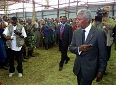 UN Secretary General Kofi Annan visits Nkumba camp near Ruhengeri in northeast Rwanda 04 September 2001 where about 800 exInterahamwe Hutu rebels are...