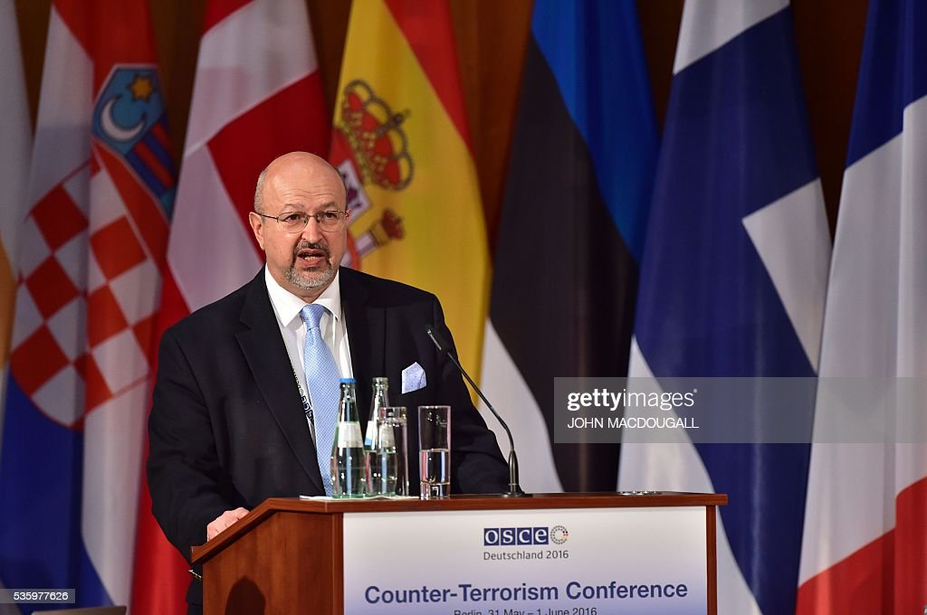 Secretary General Lamberto Zannier addresses delegates during the opening session of the two-day Counter-Terrorism Conference of the Organisation for Security and Cooperation in Europe (OSCE) at the foreign ministry in Berlin on May 31, 2016. / AFP / John MACDOUGALL