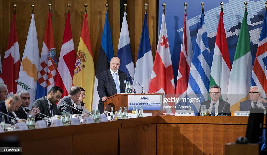 Secretary General Lamberto Zannier delivers a speech during the Counter-Terrorism Conference of the Organisation for Security and Cooperation in Europe (OSCE) at the foreign ministry in Berlin, Germany on May 31, 2016.