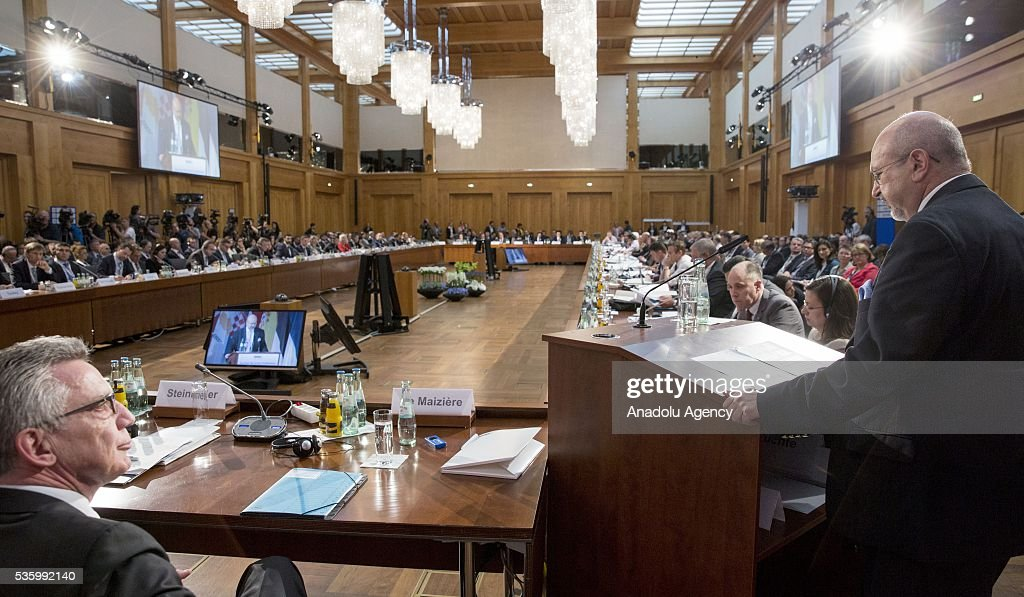 Secretary General Lamberto Zannier (L) delivers a speech during the Counter-Terrorism Conference of the Organisation for Security and Cooperation in Europe (OSCE) at the foreign ministry in Berlin, Germany on May 31, 2016.