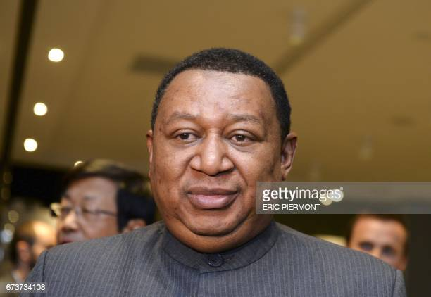 Secretary General Mohammed Barkindo of Nigeria arrives to attend the 18th International Oil Summit in Paris on April 27 2017 / AFP PHOTO / ERIC...