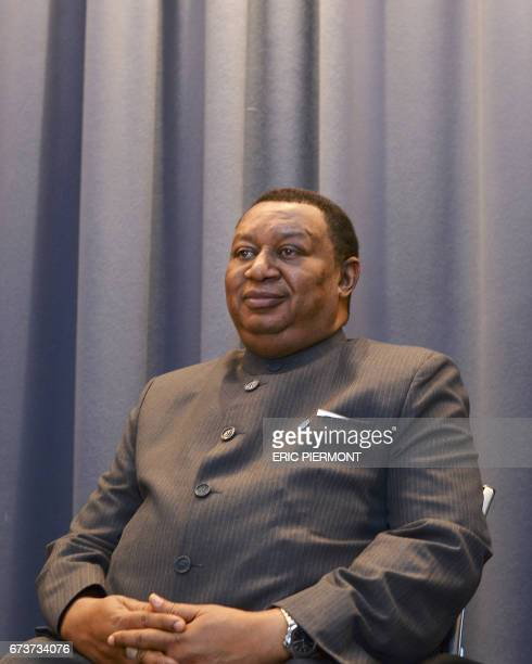 Secretary General Mohammed Barkindo of Nigeria attends the 18th International Oil Summit in Paris on April 27 2017 / AFP PHOTO / ERIC PIERMONT