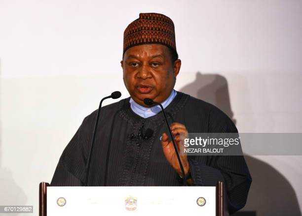 Secretary General Mohammed Barkindo of Nigeria speaks during the 3rd GCC Petroleum Media Forum on April 19 2017 in Abu Dhabi / AFP PHOTO / NEZAR...