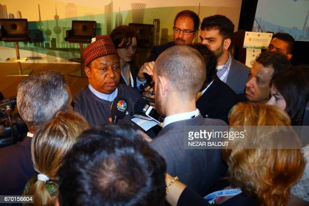 Secretary General Mohammed Barkindo of Nigeria speaks with journalists during the 3rd GCC Petroleum Media Forum on April 19 2017 in Abu Dhabi / AFP...