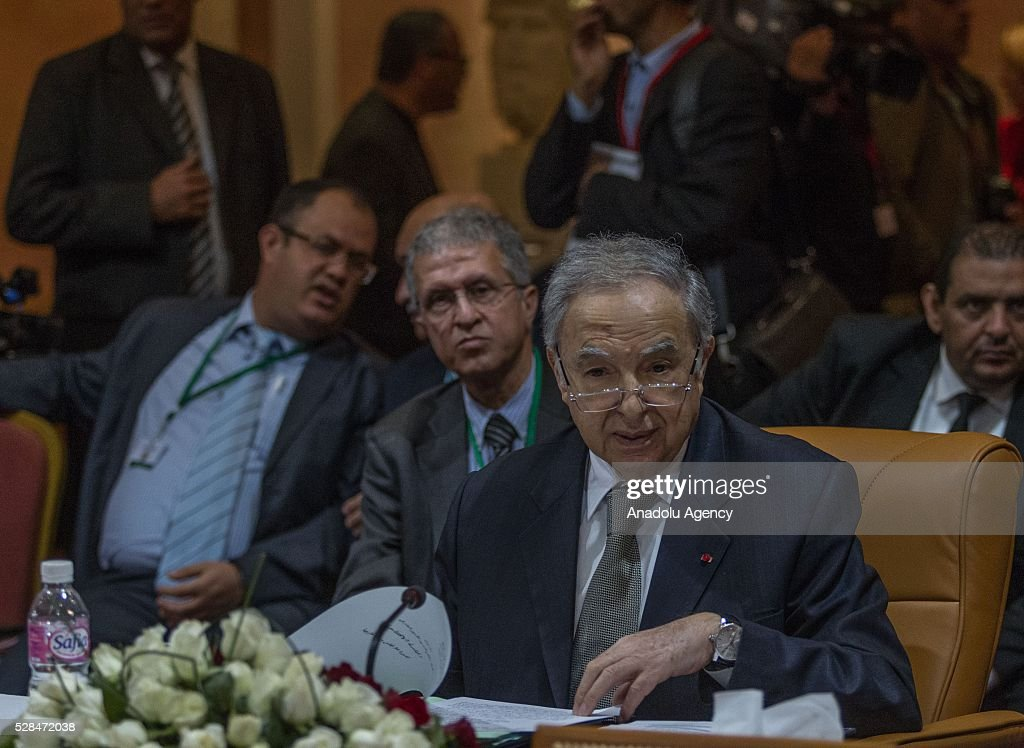 Secretary General of Arab Maghreb Union Habib Ben Yahya delivers a speech during 34th Arab Maghreb Union Foreign Ministers meeting at Golden Tulip in Tunis, Tunisia on May 5, 2016.