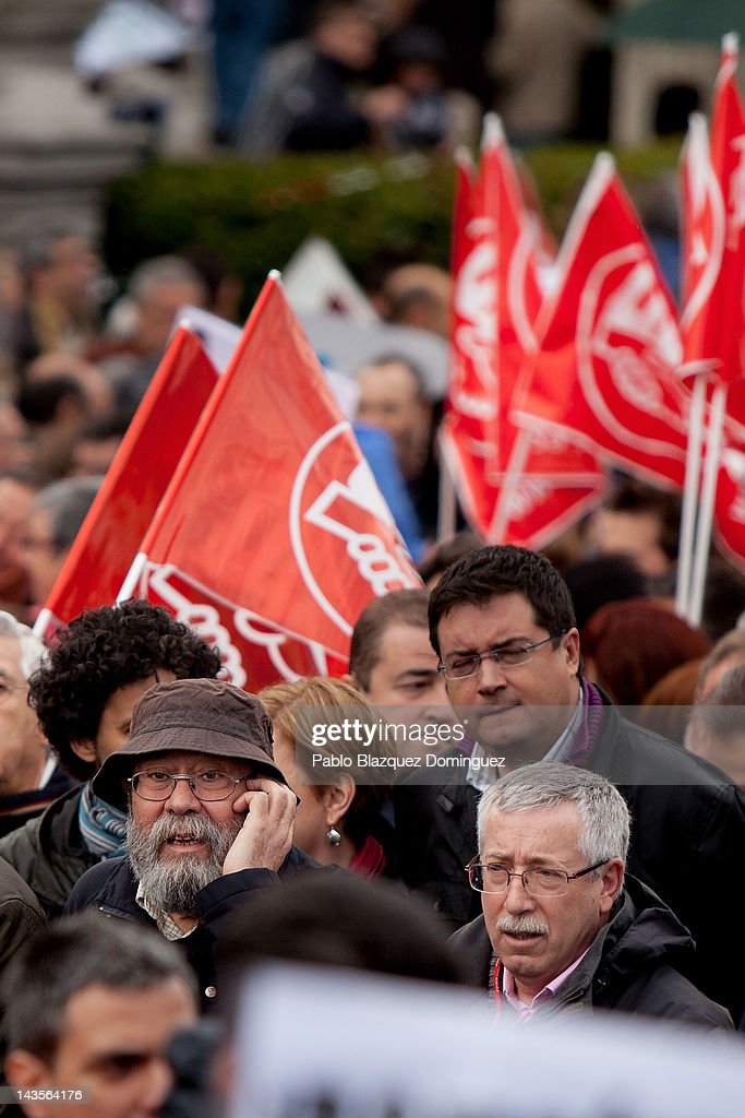 Secretary General of Comisiones Obreras trade union (CCOO) <a gi-track='captionPersonalityLinkClicked' href=/galleries/search?phrase=Ignacio+Fernandez+Toxo&family=editorial&specificpeople=7179273 ng-click='$event.stopPropagation()'>Ignacio Fernandez Toxo</a> (R) and Secretary General of UGT trade union Candido Mendez (L) lead a demonstration organized by Unions against the financial cuts in health and education on April 29, 2012 in Madrid. Trade Unions CCOO and UGT called for a demonstration against the severe austerity plans of the Spanish government. This month unemployment has reached a record rate and the government has announced that immigrants with no legal status will not be covered by the health public services. The government aims to get the deficit down to 5.3 percent this year and 3.0 percent in 2013.