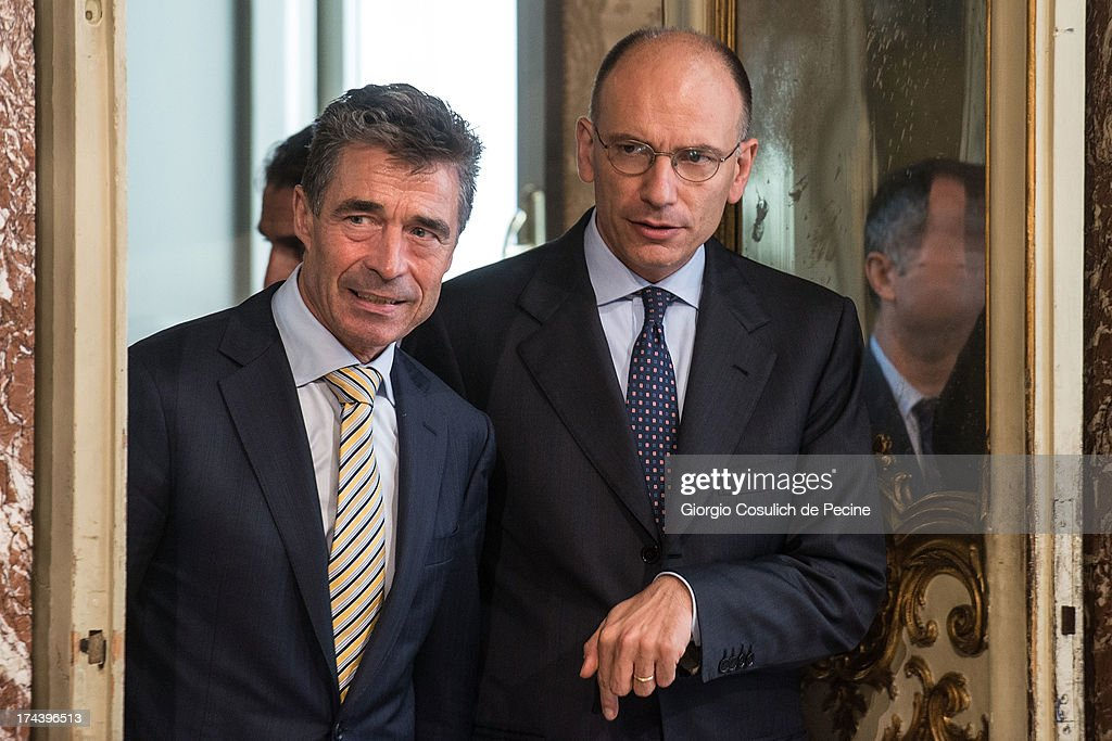 Secretary General of NATO <a gi-track='captionPersonalityLinkClicked' href=/galleries/search?phrase=Anders+Fogh+Rasmussen&family=editorial&specificpeople=549374 ng-click='$event.stopPropagation()'>Anders Fogh Rasmussen</a> (L) and Italian Prime Minister <a gi-track='captionPersonalityLinkClicked' href=/galleries/search?phrase=Enrico+Letta&family=editorial&specificpeople=2915592 ng-click='$event.stopPropagation()'>Enrico Letta</a> arrive to attend a press conference at Palazzo Chigi on July 25, 2013 in Rome, Italy. During the press conference the Prime Minister <a gi-track='captionPersonalityLinkClicked' href=/galleries/search?phrase=Enrico+Letta&family=editorial&specificpeople=2915592 ng-click='$event.stopPropagation()'>Enrico Letta</a> announced that he will travel to Afghanistan on August 12 to visit the Italian troops.