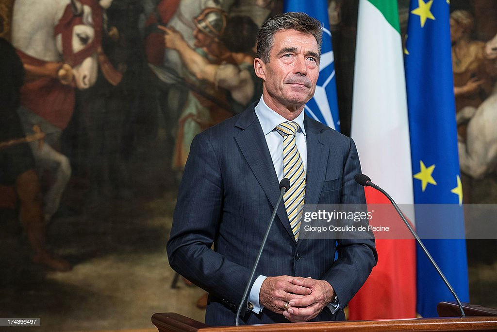 Secretary General of NATO <a gi-track='captionPersonalityLinkClicked' href=/galleries/search?phrase=Anders+Fogh+Rasmussen&family=editorial&specificpeople=549374 ng-click='$event.stopPropagation()'>Anders Fogh Rasmussen</a> attends a press conference with Italian Prime Minister Enrico Letta (not in picture) at Palazzo Chigi on July 25, 2013 in Rome, Italy. During the press conference the Prime Minister Enrico Letta announced that he will travel to Afghanistan on August 12 to visit the Italian troops.