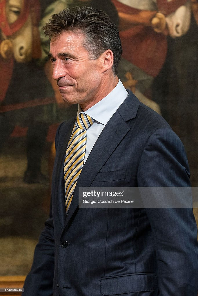 Secretary General of NATO Anders Fogh Rasmussen leaves after a press conference with Italian Prime Minister Enrico Letta (not in picture) at Palazzo Chigi on July 25, 2013 in Rome, Italy. During the press conference the Prime Minister Enrico Letta announced that he will travel to Afghanistan on August 12 to visit the Italian troops.