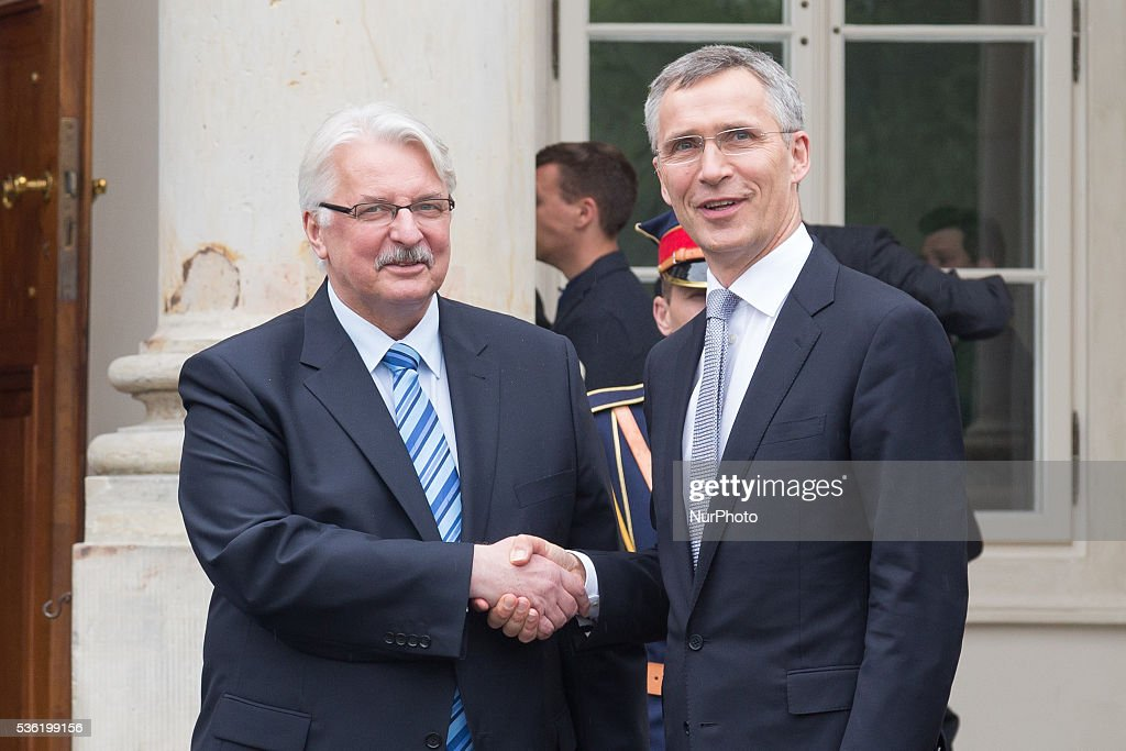 Secretary General of NATO, Jens Stoltenberg (R) and Polish Minister of foreign affairs, Witold Waszczykowski (L) at the Lazienki Palace on 31 May 2016 in Warsaw, Poland.