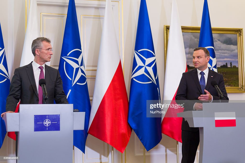 Secretary General of NATO, <a gi-track='captionPersonalityLinkClicked' href=/galleries/search?phrase=Jens+Stoltenberg&family=editorial&specificpeople=558620 ng-click='$event.stopPropagation()'>Jens Stoltenberg</a> (L) and President of Poland, <a gi-track='captionPersonalityLinkClicked' href=/galleries/search?phrase=Andrzej+Duda&family=editorial&specificpeople=4331018 ng-click='$event.stopPropagation()'>Andrzej Duda</a> (R) during a press conference at the Belweder Palace on 30 May 2016 in Warsaw, Poland.