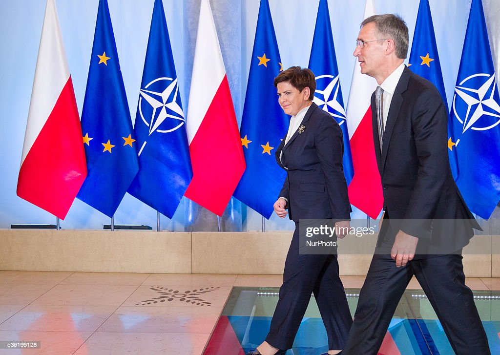 Secretary General of NATO, Jens Stoltenberg (R) and Prime Minister of Poland, Beata Szydlo (L) at the Chancellery of the Prime Minister of Poland on 31 May 2016 in Warsaw, Poland.