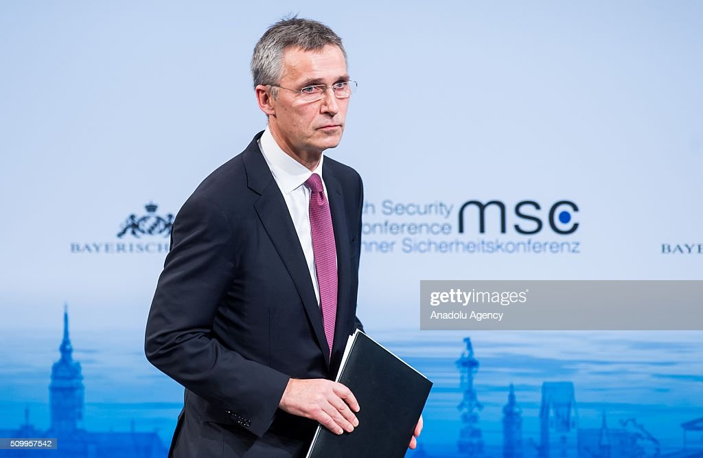 Secretary General of NATO, Jens Stoltenberg, attends the 2016 Munich Security Conference at the Bayerischer Hof hotel on February 13, 2016 in Munich, Germany. The annual event brings together government representatives and security experts from across the globe and this year the conflict in Syria will be the main issue under discussion.