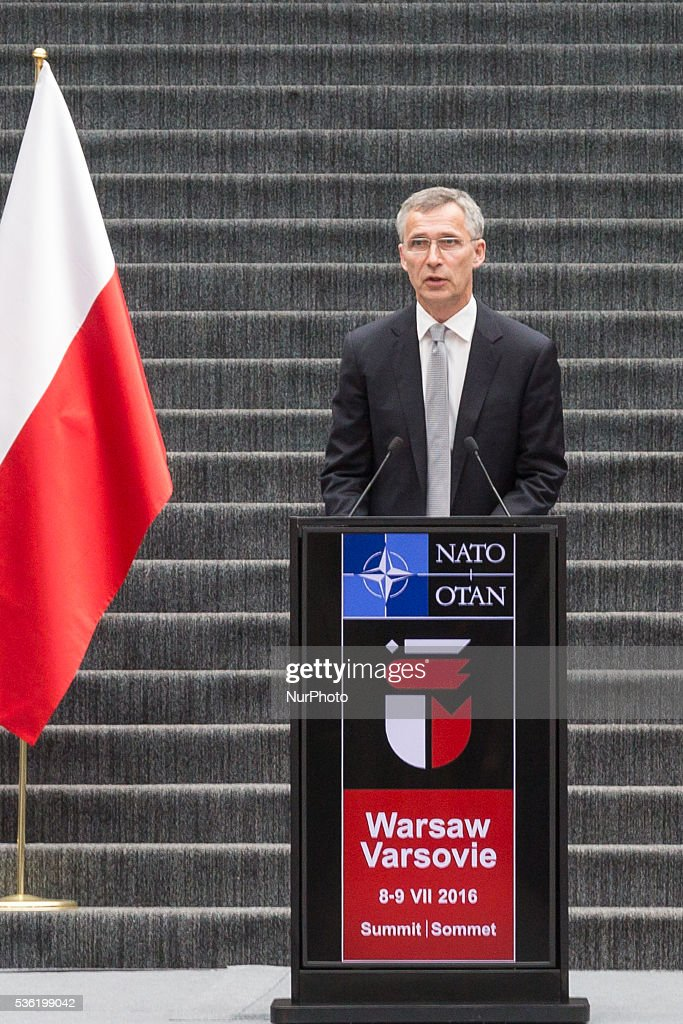 Secretary General of NATO, Jens Stoltenberg during a lecture at University of Warsaw Library on 31 May 2016 in Warsaw, Poland.