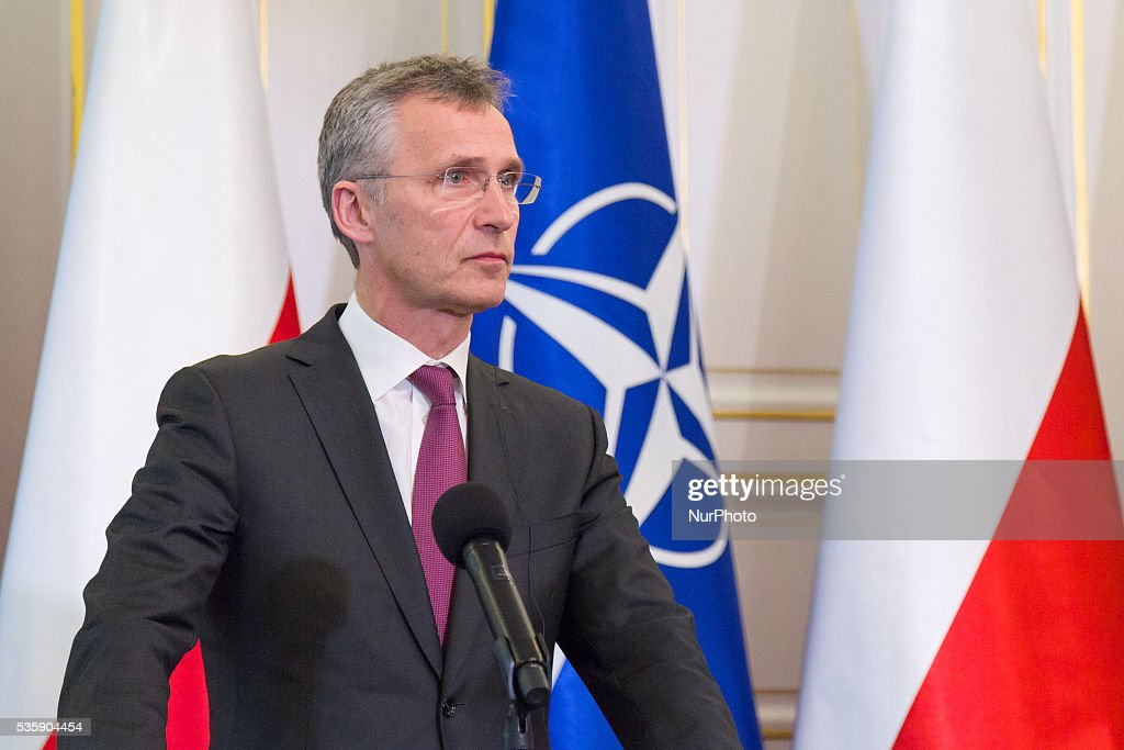 Secretary General of NATO, <a gi-track='captionPersonalityLinkClicked' href=/galleries/search?phrase=Jens+Stoltenberg&family=editorial&specificpeople=558620 ng-click='$event.stopPropagation()'>Jens Stoltenberg</a> during a press conference with President of Poland, Andrzej Duda at the Belweder Palace on 30 May 2016 in Warsaw, Poland.