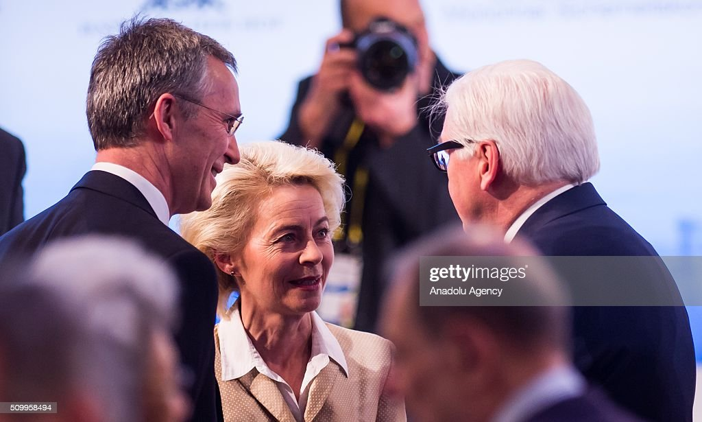 Secretary General of NATO, Jens Stoltenberg (L), German Defence Minister Ursula Von Der Leyen (C) and German Foreign Minister Frank-Walter Steinmeier (R) talk to each other during the 2016 Munich Security Conference at the Bayerischer Hof hotel in Munich, Germany on February 13, 2016. The annual event brings together government representatives and security experts from across the globe and this year the conflict in Syria will be the main issue under discussion.
